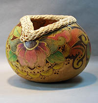 pyrography gourd basket by Lora S Irish