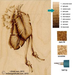 Adding drop shadows to your wood burning patterns