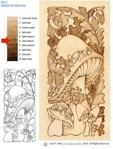 Pyrography Doodle Mushroom by Irish, step 7