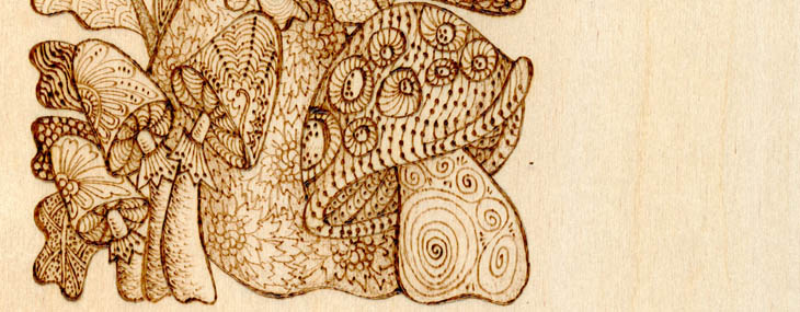 pyrography doodle project by Lora Irish