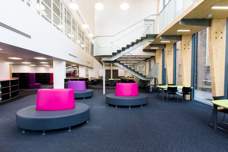 seating and staircases at Sarah Bonnell School, London
