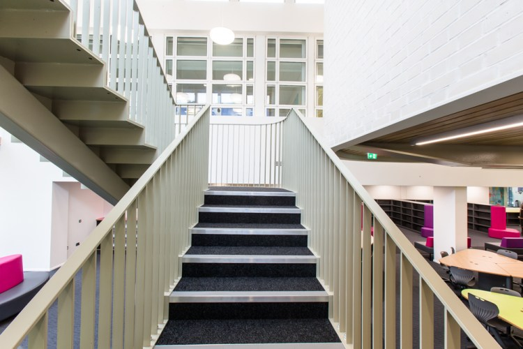 staircase at Sarah Bonnell School, by LSJ Engineering