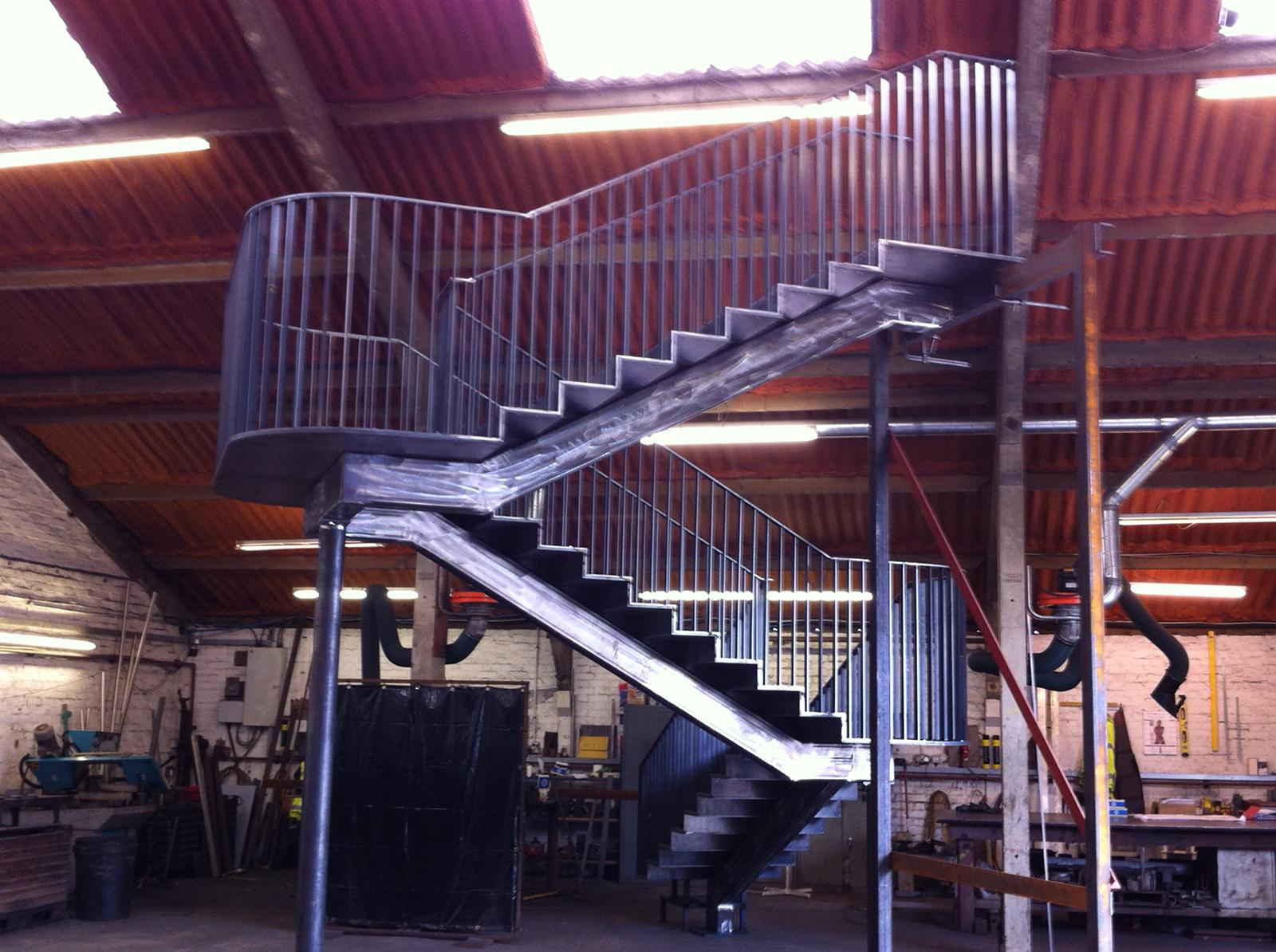 a steel staircase