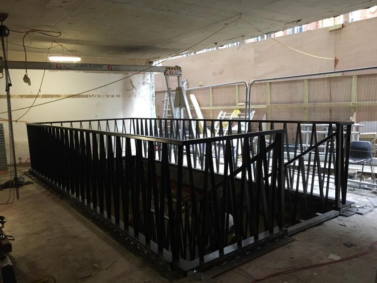 black steel staircase upstairs