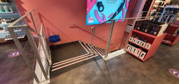 View of steel staircase at Harmony, Oxford Street, London, by LSJ Engineering Essex