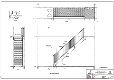 drawing of steel basement access staircase by LSJ Engineering, at Old Burlington St, Mayfair, London
