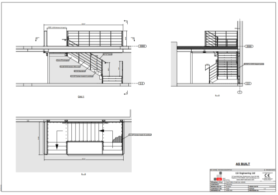 Plans for steel feature staircase at Harmony, Oxford St, London, by LSJ Engineering