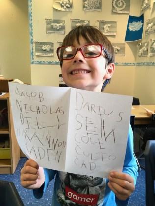 Preschool 4 Jacob's writing
