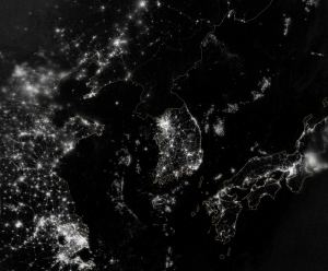 Night Satellite Image of Asia from NASA