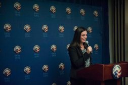 Co-Founder of ChatSalud, Lauren Spigel, introduces Acting Peace Corps Director Carrie-Hessler Radelet at a press conference and discusses how ChatSalud is an example of Peace Corps in the 21st century