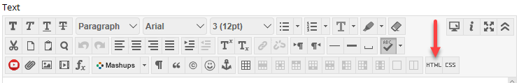 Blackboard item content editor, showing HTML button