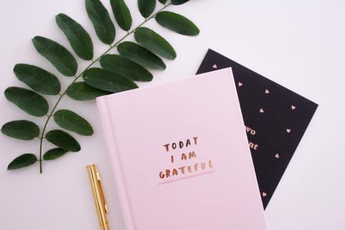 Image of a pink gratitude journal on a desk.