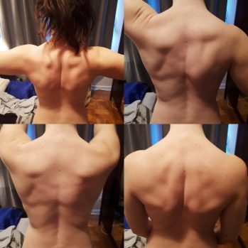 Image of four shots of me flexing my back muscles. Weightlifting was my primary form of exercise and I loved to work my back.