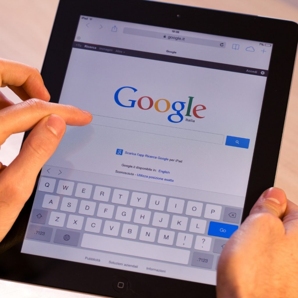 Image of a tablet opened to the Google search engine representing my Google searches after my diagnosis.
