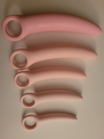 Image of my five dilators laid out on my table.