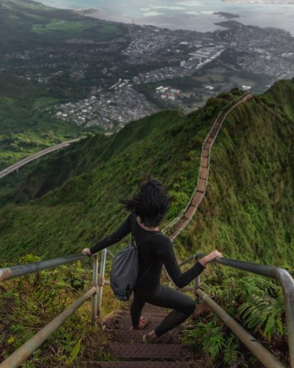 Image of a person taking steps along a long path on a mountain. This represents the numerous steps I took back and forward in my journey with dilators.