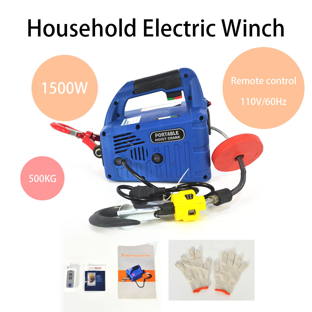 hight resolution of  110v 500kgx7 6m portable household electric winch 1500w manual on electric scooter