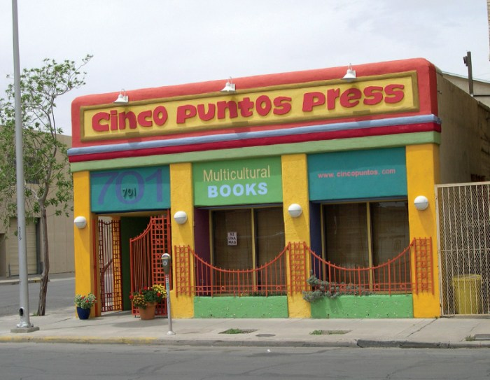 The multi-colored, multi-cultural Cinco Puntos Press. Photo courtesy of Cinco Puntos Press.