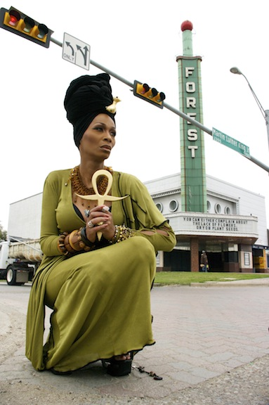 Erykah Badu (Tommie Ross) invokes Queen Nefertari to resurrect South Dallas' fading cultural monument, the Forest Theater.