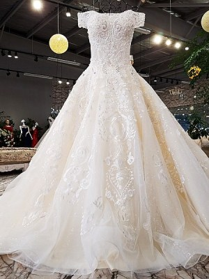 Off the shoulder A-line Beading Wedding Dress 2018