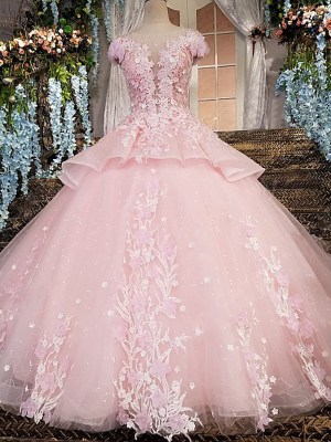 O-neck Ball Gown Evening pink luxury Dress 2018