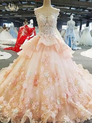 O-neck Ball Gown Evening Dress 2018