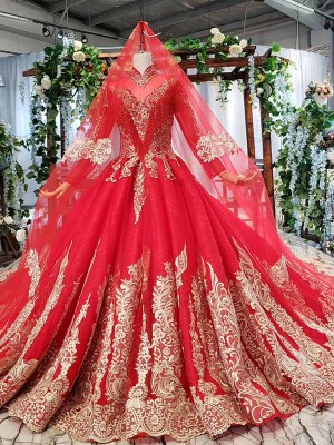 muslim wedding dress with sleeve