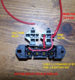 fuse block starting out main battery feed to relay and to batt hot fuse fuses 1 2 3 will be key hot [ 1280 x 960 Pixel ]