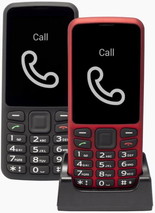 טלפונים בצבע אדום בתוך עריסה וטלפון שחור