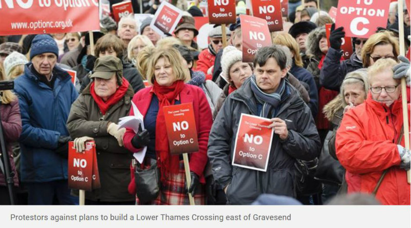 Protesters against plans to build a Lower Thames Crossing east of Gravesend