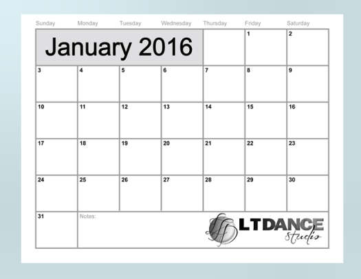 january 2016 motivational calendar image