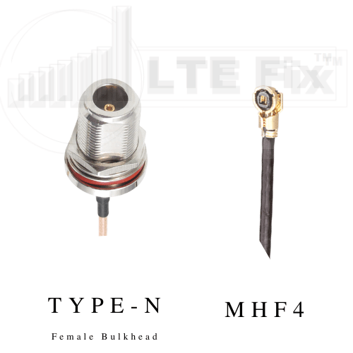 MHF4 Female Right Angle to N Female Bulkhead Straight Cable