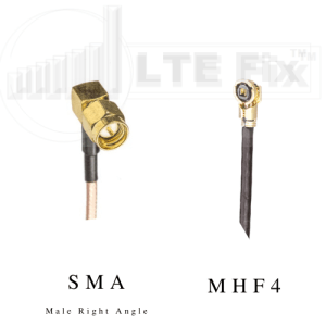MHF4 Female (Right Angle) to SMA Male (Right Angle) Pigtail Cable