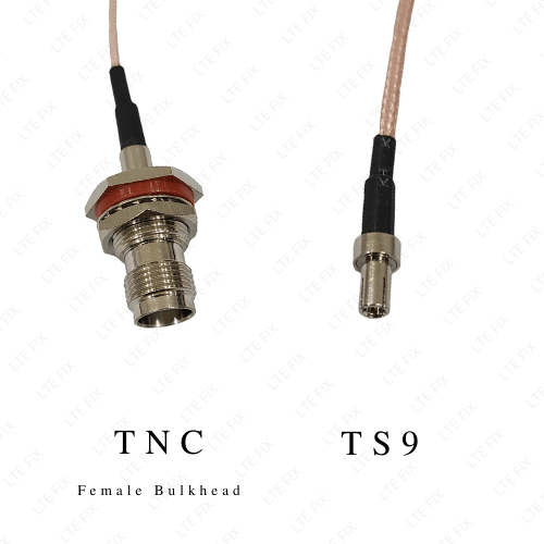 TNC Female Bulkhead Straight to TS-9 Male Adapter Pigtail - 6 inch
