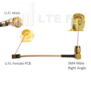 U.FL Female PCB to SMA Male Right Angle Adapter Pigtail