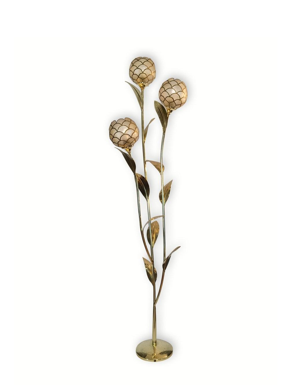 Lampadaire floral vintage en laiton et nacre 1970 français