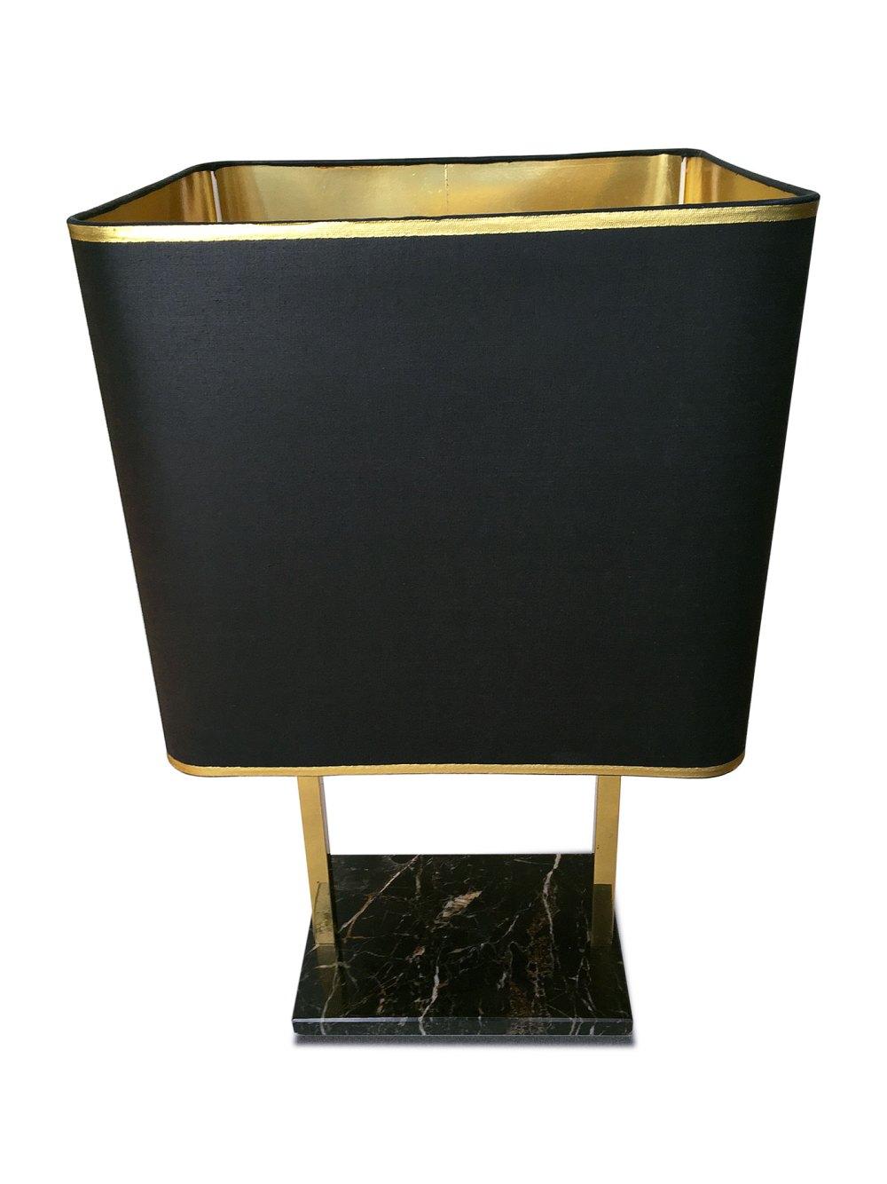 lampe de salon vintage laiton et marbre, noire et dorée. En vente chez ltgmoood luminaires vintage à paris.
