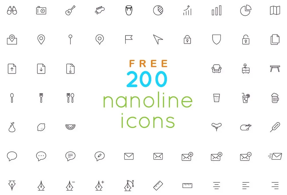200 Free Outline Icons Set