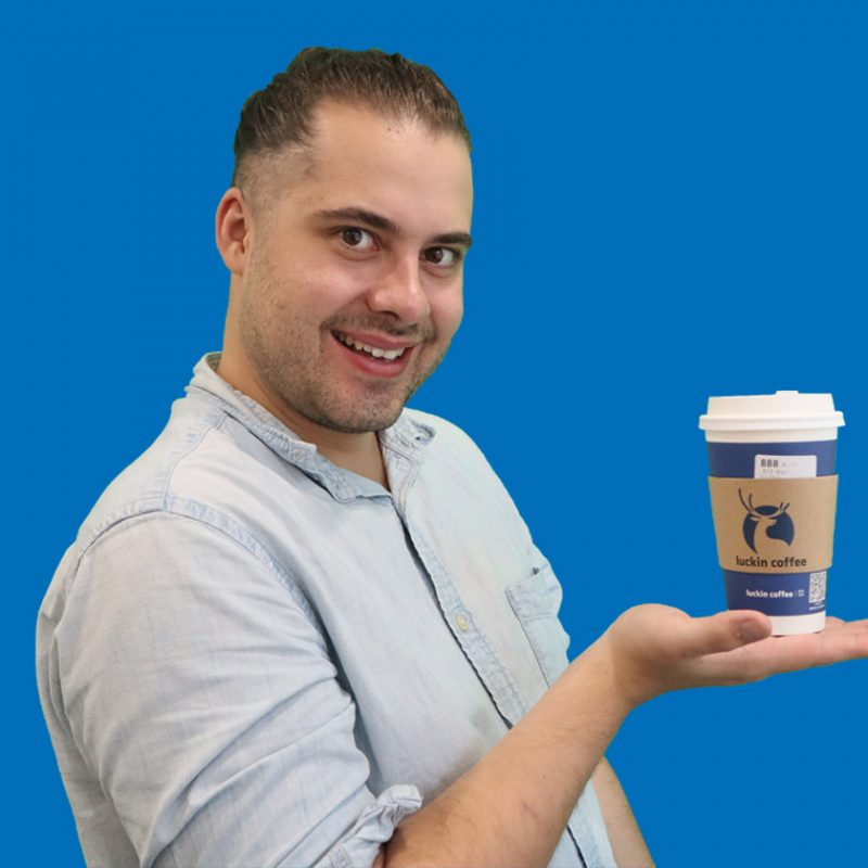 Campbell the Marketing Wizard, enjoying his cashless coffee!