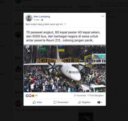"""[SALAH] """"Foto 70 pesawat angkut disewa untuk antar peserta reuni 212"""""""
