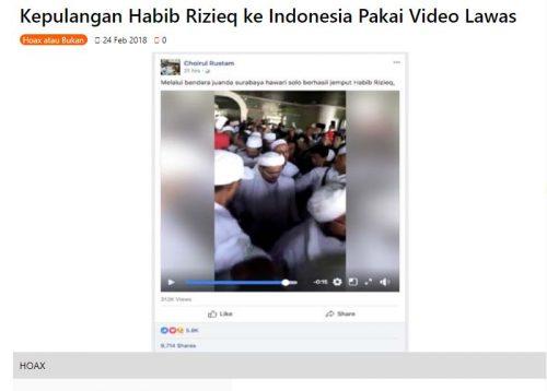 """[KLARIFIKASI] """"Video Habib Rizieq Shihab tiba di Bandara Juanda"""""""
