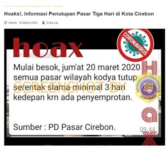 [SALAH] Pasar Kodya Cirebon Ditutup Mulai 20 Maret 2020