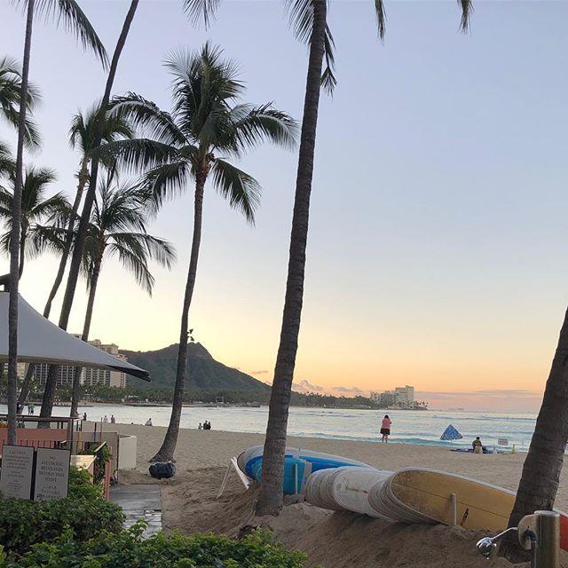 ハワイ・朝のワイキキビーチ