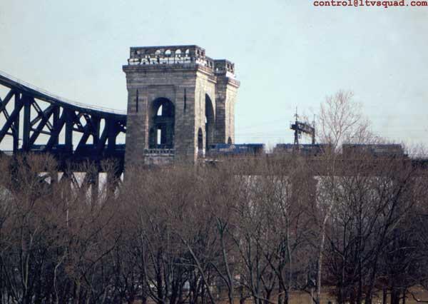 Conrail freight train crossing the bridge, sometime around 1993