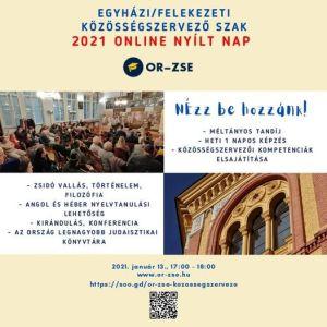 Egyházi/felekezeti közösségszervező online nyílt nap