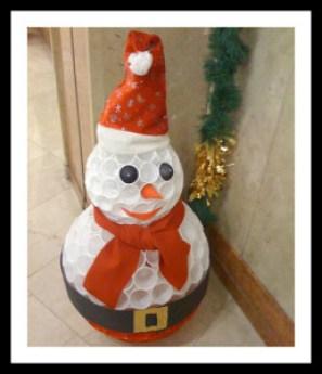 Boneco de Neve feito de copinhos descartaveis de café1 258x300 - DICAS DE ENFEITES DE NATAL COM MATERIAL RECICLÁVEL