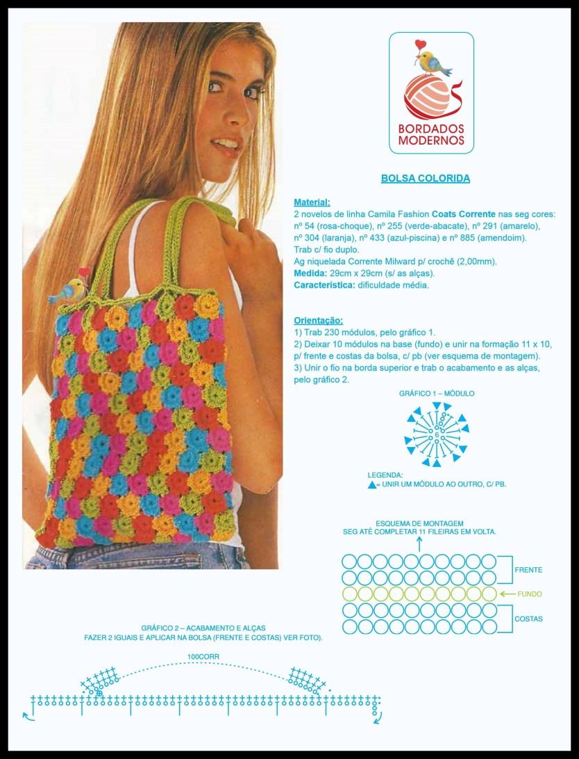 bolsa colorida instruçoes - PASSO A PASSO DE UMA LINDA BOLSA DE CROCHÊ COLORIDA