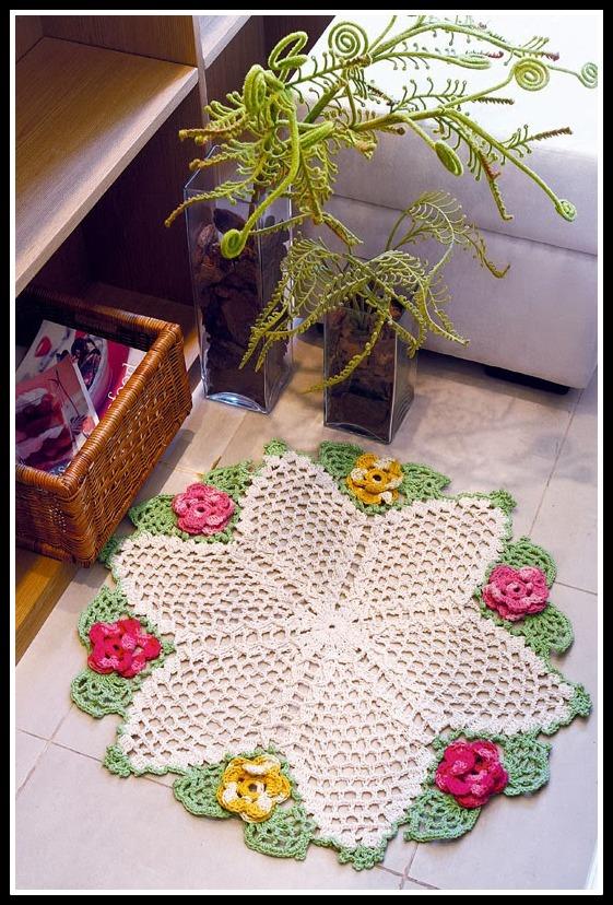 tapete flores estrela 1 - LINDOS TAPETES DE CROCHÊ COM GRÁFICO