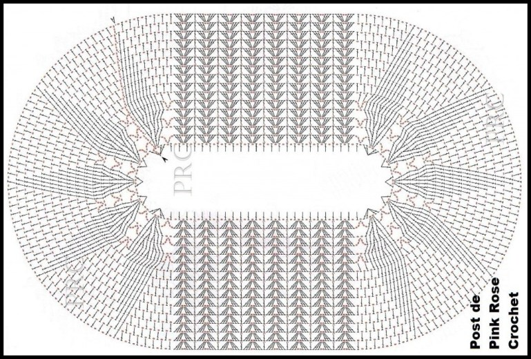 tapete oval de crochê gráfico 1 - LINDOS TAPETES DE CROCHÊ COM GRÁFICO