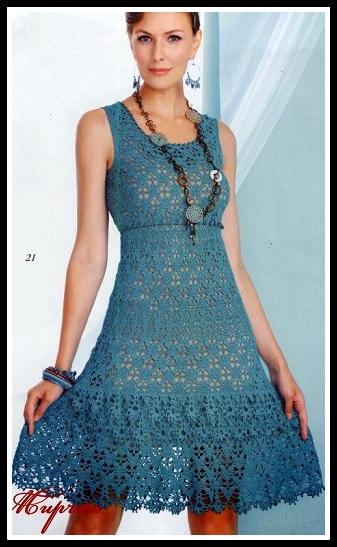 vestido azul crochê - VESTIDOS DE CROCHÊ COM GRÁFICO PARA IMPRIMIR